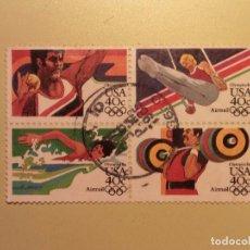 Sellos: USA - JUEGOS OLÍMPICOS DE LOS ÁNGELES 1984 - LANZAMIENTO DE BALA, ANILLAS, PESAS Y NATACIÓN.. Lote 94597083