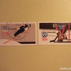 Sellos: USA - OLIMPIADAS 1980 - SALTO DE ESQUÍ Y HOCKEY HIELO.. Lote 94597239