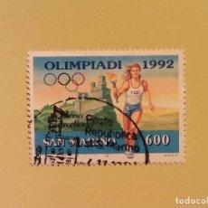 Sellos: SAN MARINO 1992 - GRAN PREMIO - PORTADOR DE LA LLAMA OLÍMPICA. Lote 94598323