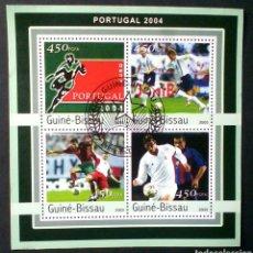 Sellos: EUROCOPA FUTBOL PORTUGAL 2004 HOJA BLOQUE DE SELLOS USADOS AUTÉNTICOS DE GUINEA BISSAU. Lote 95797647