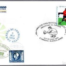 Sellos: MATASELLOS INAUGURACION MUNDIAL DE RUGBY - ARGENTINA VS FRANCIA. BUENOS AIRES 2003. Lote 96509543