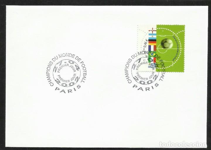 FRANCIA 2002 SOBRE PRIMER DIA CIRCULACION CAMPEONES MUNDIAL DE FUTBOL FDC (Sellos - Temáticas - Deportes)
