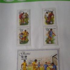 Sellos: GHANA 1987 HOJA BLOQUE + SELLOS CONMEMORATIVOS DE LA COPA MUNDIAL DE FUTBOL MÉXICO 86- FIFA . Lote 97454411