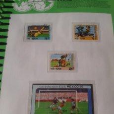 Sellos: VIETNAM 1986 HOJA BLOQUE + SELLOS CONMEMORATIVOS DE LA COPA MUNDIAL DE FUTBOL MÉXICO 86- FIFA . Lote 97454615
