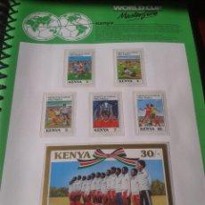 Sellos: KENIA 1986 HOJA BLOQUE + SELLOS DE LA COPA MUNDIAL DE FUTBOL MÉXICO 86- FIFA . Lote 97454875
