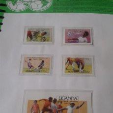 Sellos: UGANDA 1986 HOJA BLOQUE + SELLOS DE LA COPA MUNDIAL DE FUTBOL MÉXICO 86- FIFA . Lote 97455295