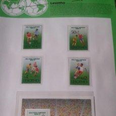Sellos: LESOTHO 1986 HOJA BLOQUE + SELLOS CONMEMORATIVOS DE LA COPA MUNDIAL DE FUTBOL MÉXICO 86- FIFA . Lote 97456763