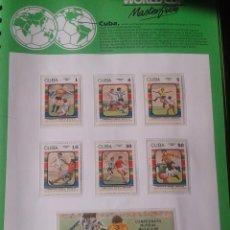 Sellos: CUBA 1986 HOJA BLOQUE + SELLOS CONMEMORATIVOS DE LA COPA MUNDIAL DE FUTBOL MÉXICO 86- FIFA . Lote 97456935