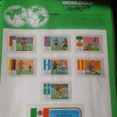 Sellos: CUBA 1986 HOJA BLOQUE + SELLOS CONMEMORATIVOS DE LA COPA MUNDIAL DE FUTBOL MÉXICO 86- FIFA . Lote 97457011