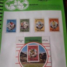 Sellos: MALDIVAS 1986 HOJA BLOQUE + SELLOS CONMEMORATIVOS DE LA COPA MUNDIAL DE FUTBOL MÉXICO 86- FIFA . Lote 97458939