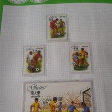 Sellos: GHANA 1987 HOJA BLOQUE + SELLOS CONMEMORATIVOS DE LA COPA MUNDIAL DE FUTBOL MÉXICO 86- FIFA . Lote 97459423