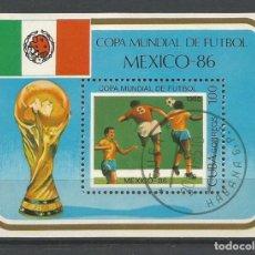 Sellos: CUBA. HOJA BLOQUE COPA MUNDIAL DE FÚTBOL MEXICO' 86. USADA. Lote 98172191