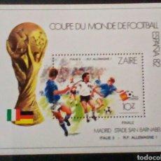 Sellos: COPA MUNDIAL DE FUTBOL ESPAÑA 1982 HOJA BLOQUE DE SELLOS NUEVOS AUTÉNTICOS DE ZAIRE CONGO. Lote 98612907