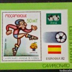 Sellos: COPA MUNDIAL DE FÚTBOL ESPAÑA 1982 HOJA BLOQUE DE SELLOS NUEVOS AUTÉNTICOS DE MOZAMBIQUE. Lote 98613256