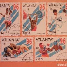Sellos: CUBA - 1996 - DEPORTES - ATLÁNTA 96 - SALTO LONGITUD, HALTEROFILIA, JUDO, LUCHA Y BOXEO.. Lote 98866599