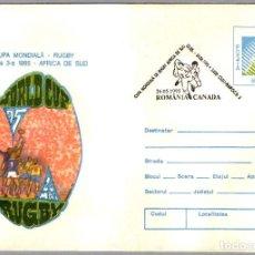 Sellos: MATASELLOS COPA DE MUNDO DE RUGBY1995 - SUDAFRICA - RUMANIA VS CANADA. CLUJ NAPOCA 1995. Lote 101700391