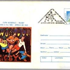 Sellos: MATASELLOS COPA DE MUNDO DE RUGBY1995 - SUDAFRICA - SUDAFRICA VS RUMANIA. CLUJ NAPOCA 1995. Lote 101700483