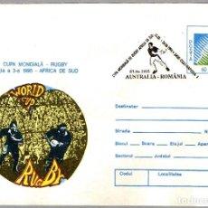 Sellos: MATASELLOS COPA DE MUNDO DE RUGBY1995 - SUDAFRICA - AUSTRALIA VS RUMANIA. CLUJ NAPOCA 1995. Lote 101700535