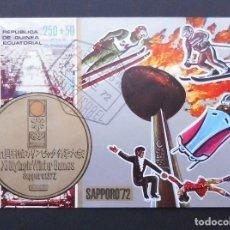 Sellos: DEPORTES MINI HOJA JUEGOS OLÍMPICOS DE INVIERNO SAPPORO JAPÓN 1972, REPÚBLICA DE GUINEA ECUATOR 1972. Lote 103988179