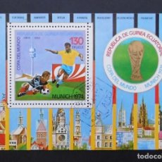 Sellos: DEPORTES MINI HOJA CAMPEONATO MUNDIAL DE FUTBOL RFA 1974, REPÚBLICA DE GUINEA ECUATORIAL 1974. Lote 103989359