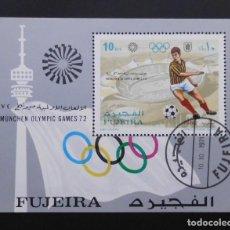 Sellos: DEPORTES MINI HOJA JUEGOS OLIMPICOS MUNICH 1972, FUJEIRA 1972. Lote 103992803