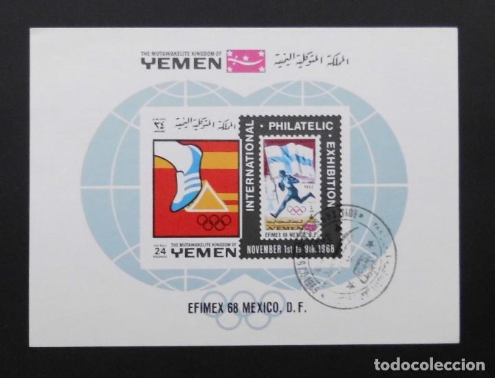 DEPORTES MINI HOJA EXPOSICIÓN OLÍMPICA INTERNACIONAL EFIMEX 68, YEMEN 1968 (Sellos - Temáticas - Deportes)