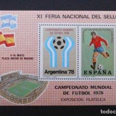 Sellos: DEPORTES MINI HOJA XI FERIA NACIONAL DEL SELLO, CAMPEONATO MUNDIAL DE FUTBOL 1978, ESPAÑA 1978. Lote 104061675