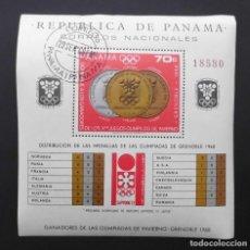 Sellos: DEPORTES MINI HOJA GANADORES OLIMPIADAS DE INVIERNO GRENOBLE 1968, PANAMÁ 1968. Lote 104064475