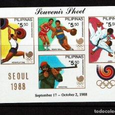 Sellos: SEUL 1988 FILIPINAS SERIE COMPLETA: HOJITA BLOQUE, SERIE SIN DENTAR Y SERIE DENTADA. NUEVA. Lote 108373239