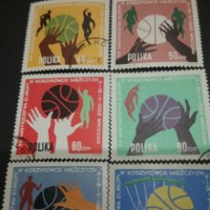 Sellos: SELLOS DE POLONIA (POLSKA) MATASELLADOS. 1963. CAMPEONATO. BALONCESTO. DEPORTE. JUEGOS. CANASTA. BA. Lote 114934870