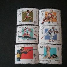 Sellos: SELLOS DE POLONIA (POLSKA) MATASELLADOS. 1988. JUEGOS. DEPORTES. ATLETAS. NATACION. CANOA. REMO.LUCH. Lote 114985398