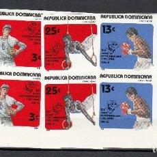 Sellos: REPUBLICA DOMINICANA 1982 - JUEGOS DEPORTIVOS - YVERT Nº 890+ AV 413-415 EN BLOQUE DE 4 Y SIN DENTAR. Lote 115318315