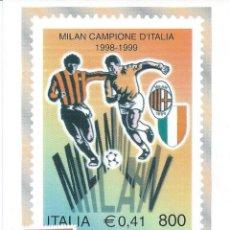 Sellos: 1999. ITALIA/ITALY. MÁXIMA/MAXIMUM. SELLO YVERT 2370. MILÁN, CAMPEÓN DE ITALIA. FÚTBOL/FOOTBALL.. Lote 118560435