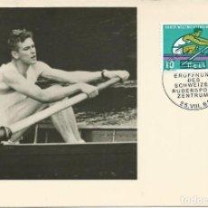 Sellos: 1962. SUIZA/SWITZERLAND. MÁXIMA/MAXIMUM CARD. YVERT 690. REMO/ROWING. MATASELLOS ESPECIAL ALUSIVO.. Lote 119191387