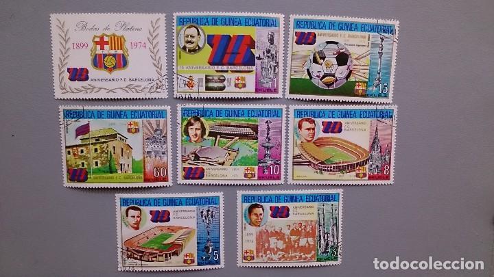 SELLOS TEMATICA FUTBOL - 75 ANIVERSARIO F.C. BARCELONA - 1899-1974 - REPUBLICA GUINEA ECUATORIAL. (Sellos - Temáticas - Deportes)