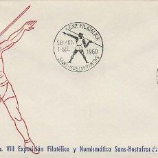 Sellos: AÑO 1960, AÑO OLIMPICO, LANZAMIENTO DE JABALINA, MATASELLO DE SANS HOSTAFRANCHS . Lote 122169479