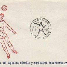 Sellos: AÑO 1960, AÑO OLIMPICO, LANZAMIENTO DE JABALINA, MATASELLO DE SANS HOSTAFRANCHS, SOBRE FUTBOL . Lote 122169559