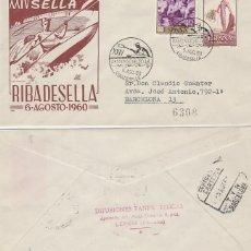 Sellos: AÑO 1960, RIBADESELLA (ASTURIAS) DESCENSO INTERNACIONAL DEL SELLA, SOBRE PANFILATELICAS CIRCULADO . Lote 122169823