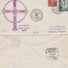 Sellos: AÑO 1960, OVIEDO, REHABILITACION, CONGRESO DE LA SOCIEDAD ESPAÑOLA, SOBRE DE ALFIL CIRCULADO . Lote 122169939