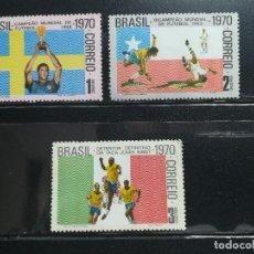 Sellos: BRASIL. AÑO 1970. Nº YVERT 935-37. CAMPEONATOS MUNDIALES DE FUTBOL GANADOS POR BRASIL. SELLOS NUEVOS. Lote 122193947