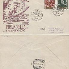 Sellos: AÑO 1959, DESCENSO INTERNACIONAL DEL SELLA, RIBADESELLA (ASTURIAS), SOBRE PANFILATELICAS CIRCULADO . Lote 123376055