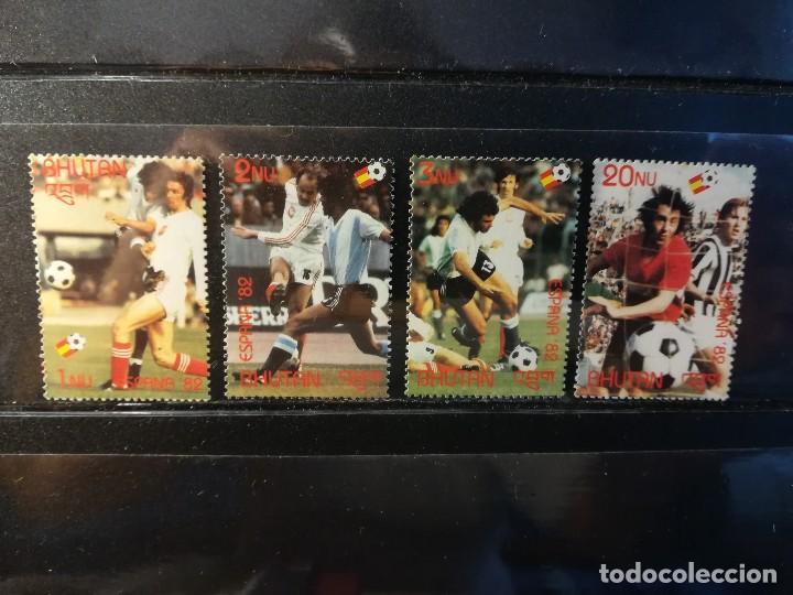 BUTAN. AÑO 1982. Nº YVERT 558-61. CAMPEONATO MUNDIAL DE FUTBOL ESPAÑA 1982 (Sellos - Temáticas - Deportes)