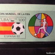 Sellos: CUBA. AÑO 1981. Nº YVERT HB 65. CAMPEONATO MUNDIAL DE FUTBOL ESPAÑA 1982. Lote 124986987