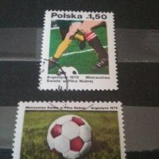 Sellos: SELLOS DE POLONIA (POLSKA) MATASELLADOS. 1978. ARGENTINA. COPA. FUTBOL. BALON. DEPORTE. MUNDIAL.. Lote 125195667