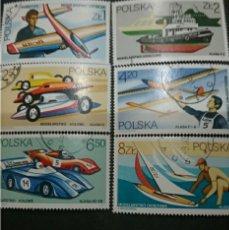 Sellos: SELLOS R. POLONIA (POLSKA) MTDOS. 1981. DEPORTES. AVION. COCHE. BARCO. VELERO. JUEGOS. AEROMODELISMO. Lote 125410806