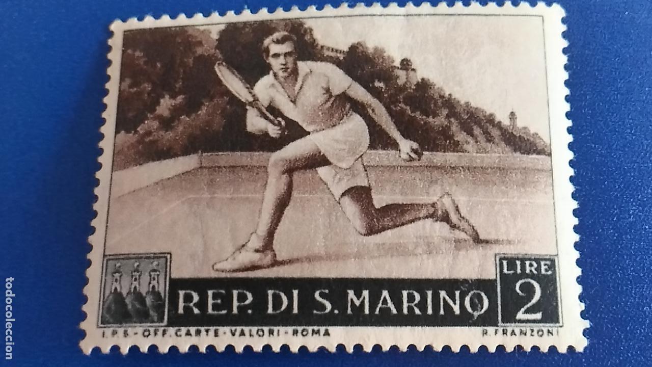 SELLO DE REPÚBLICA DE SAN MARINO. IVERT 366. DEPORTE, TENIS. (Sellos - Temáticas - Deportes)