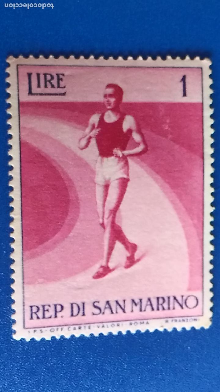 SELLO DE REPÚBLICA DE SAN MARINO. IVERT 383. DEPORTE, MARATÓN. (Sellos - Temáticas - Deportes)
