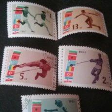 Sellos: SELLOS DE BULGARIA MATASELLADOS. 1963. JUEGOS BALCANES. BANDERAS. SALTO ALTURA, LONGITUD. DISCO. ATL. Lote 128111223