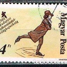Sellos: HUNGRIA Nº 3972, CAMPEONATO MUNDIAL DE PATINAJE ARTÍSTICO EN BUDAPEST, MASCULINO SIGLO XVIII, USADO. Lote 128274979