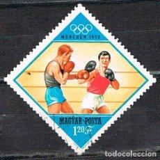Sellos: HUNGRIA Nº 2800, BOXEO,JUEGOS OLÍMPICOS DE MUNICH, USADO. Lote 128912371